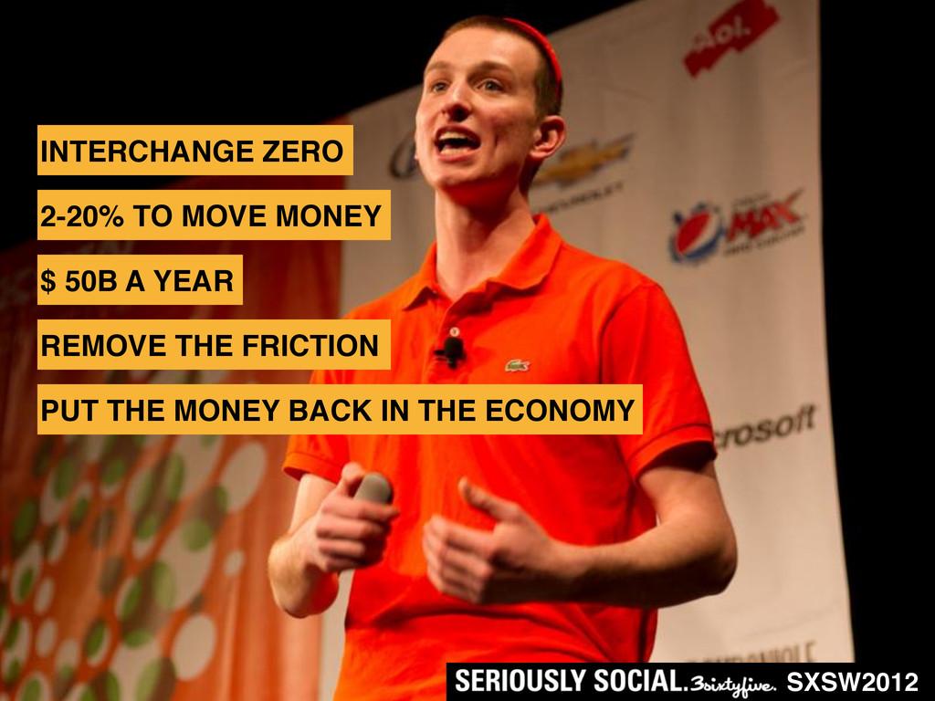 SXSW2012 INTERCHANGE ZERO 2-20% TO MOVE MONEY $...
