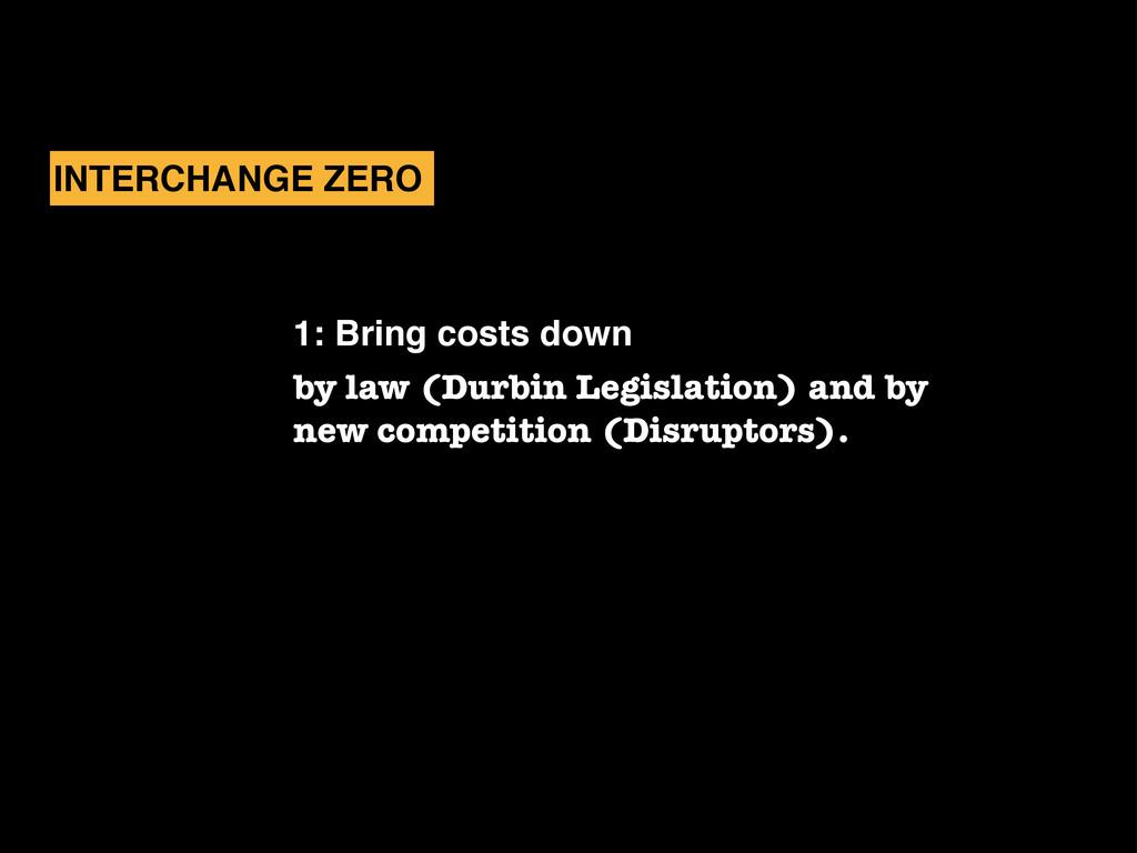 1: Bring costs down by law (Durbin Legislation)...