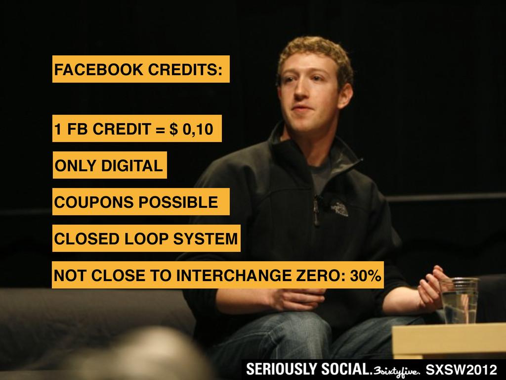 SXSW2012 FACEBOOK CREDITS: NOT CLOSE TO INTERCH...