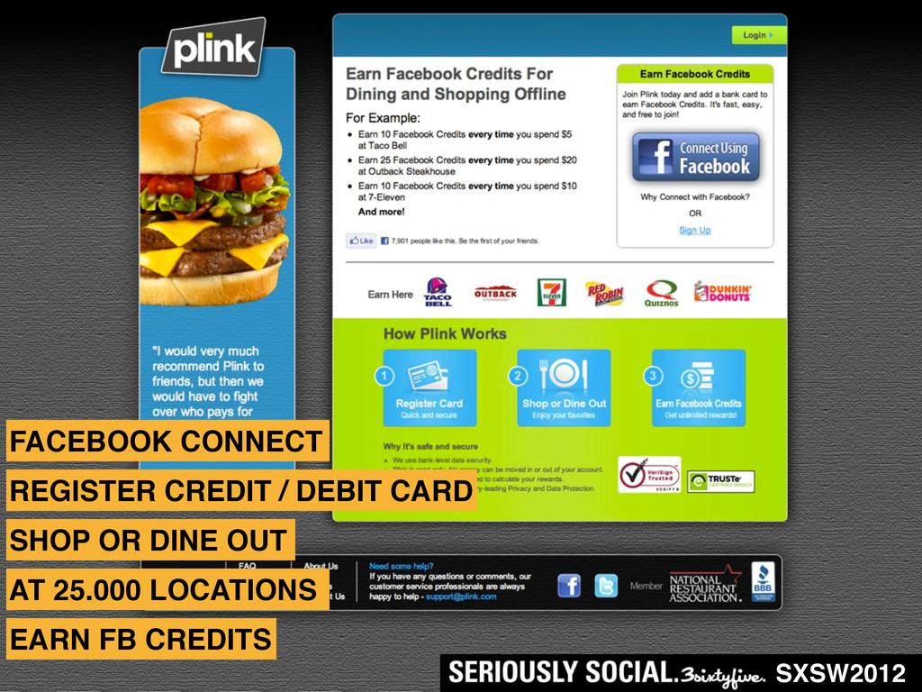 SXSW2012 FACEBOOK CONNECT REGISTER CREDIT / DEB...