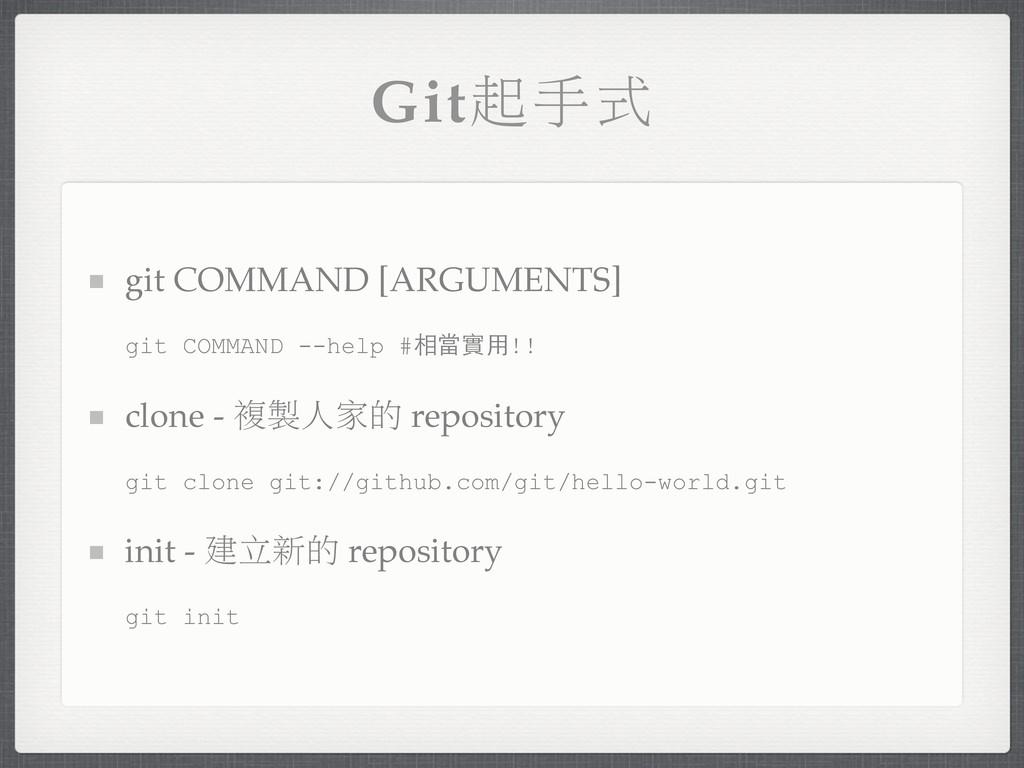 Gitৎ˓ό git COMMAND [ARGUMENTS] git COMMAND --he...