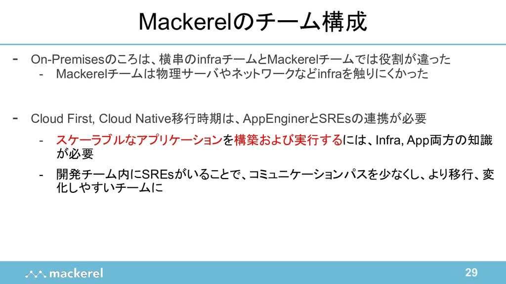 29 Mackerelのチーム構成 - On-Premisesのころは、横串のinfraチーム...