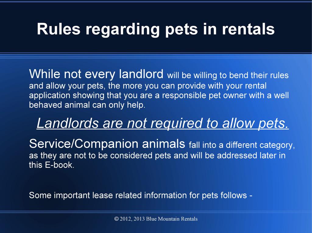 2012, 2013 Blue Mountain Rentals  Rules regard...