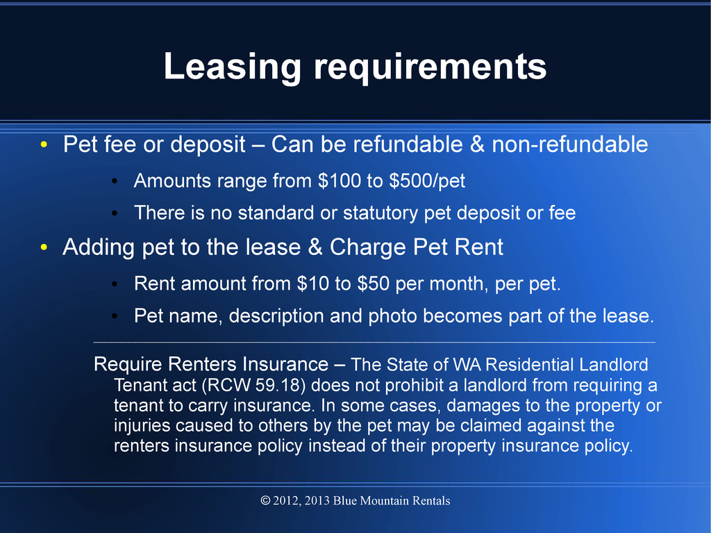 2012, 2013 Blue Mountain Rentals  Leasing requ...