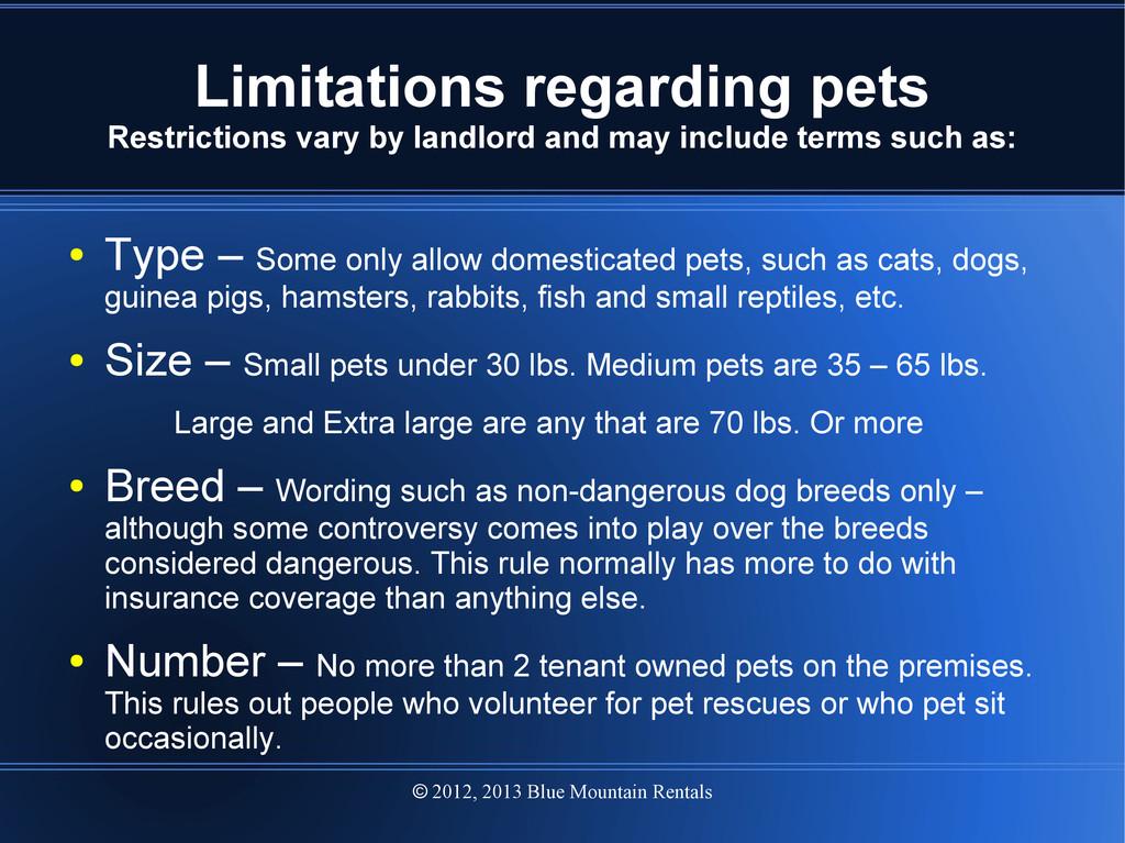 2012, 2013 Blue Mountain Rentals  Limitations ...