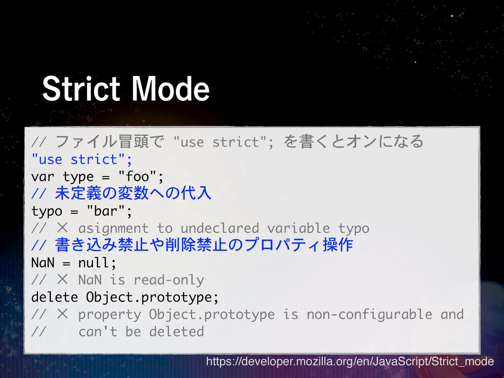 "4USJDU.PEF // ファイル冒頭で ""use strict""; を書くとオン..."