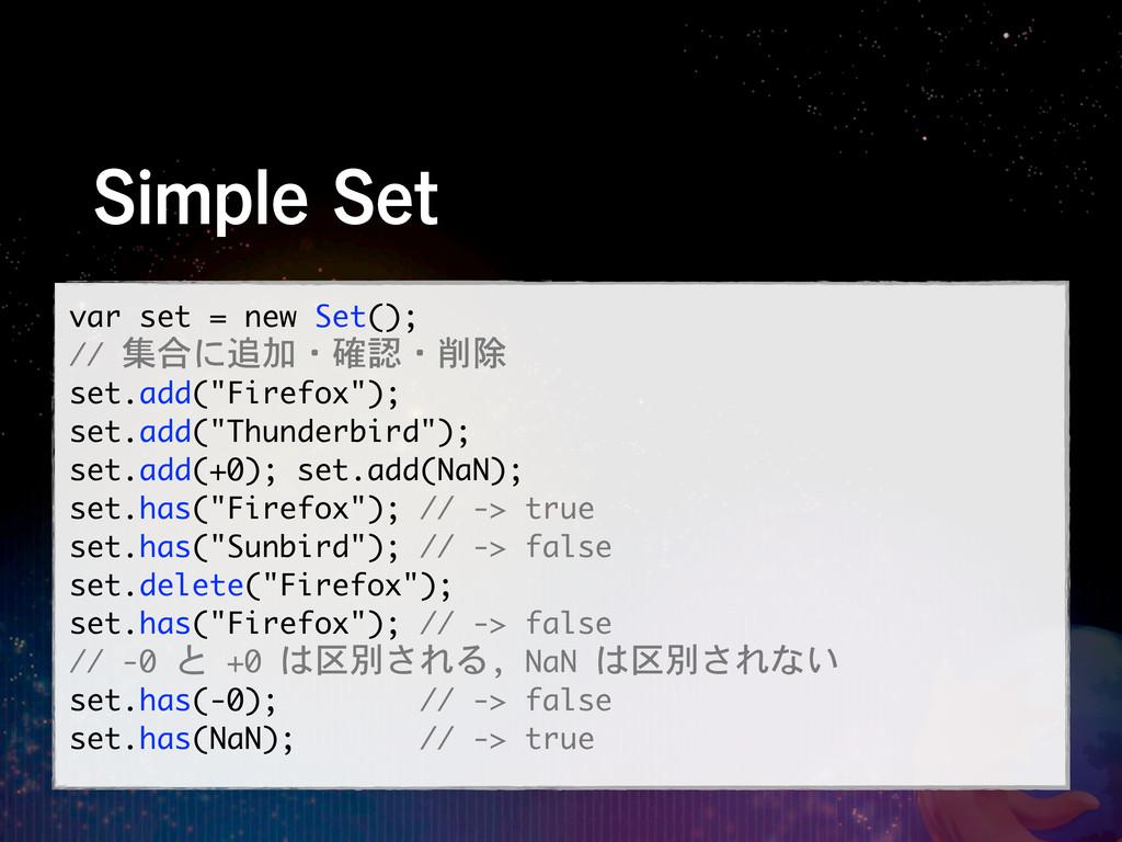 4JNQMF4FU var set = new Set(); // 集合に追加・確認・削除...