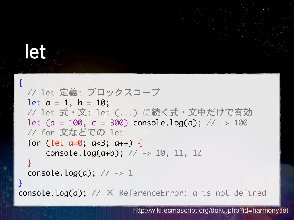 MFU {   // let 定義: ブロックスコープ   let a =...