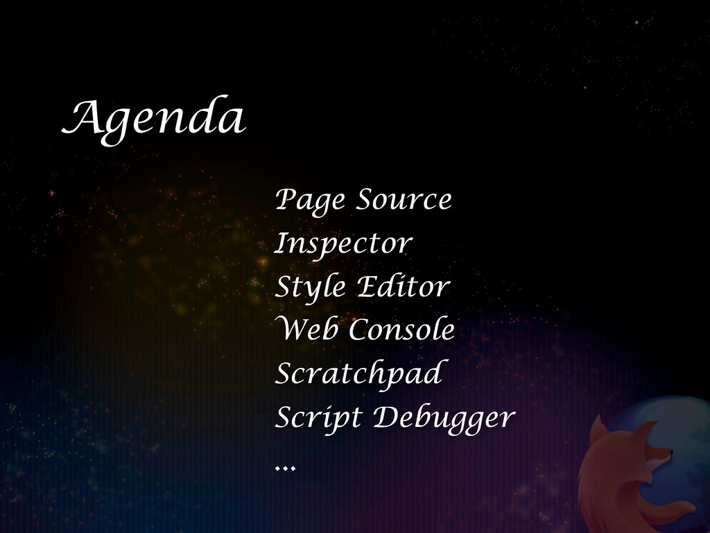 Page Source Inspector Style Editor Web Console ...
