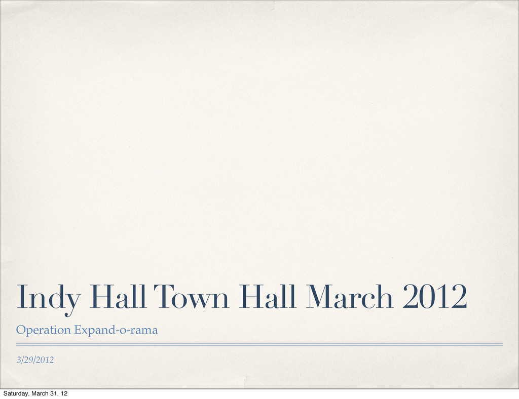 3/29/2012 Indy Hall Town Hall March 2012 Operat...