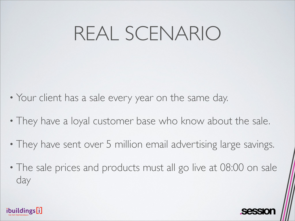 REAL SCENARIO • Your client has a sale every ye...
