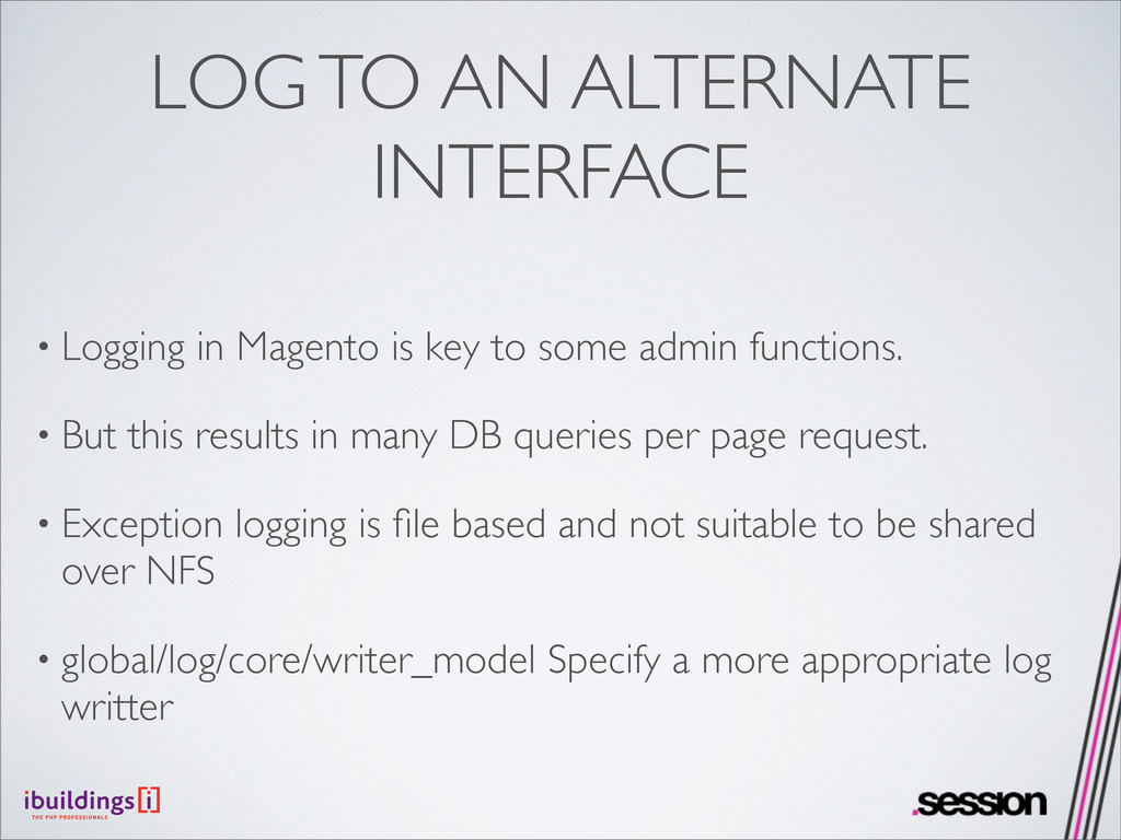 LOG TO AN ALTERNATE INTERFACE • Logging in Mage...