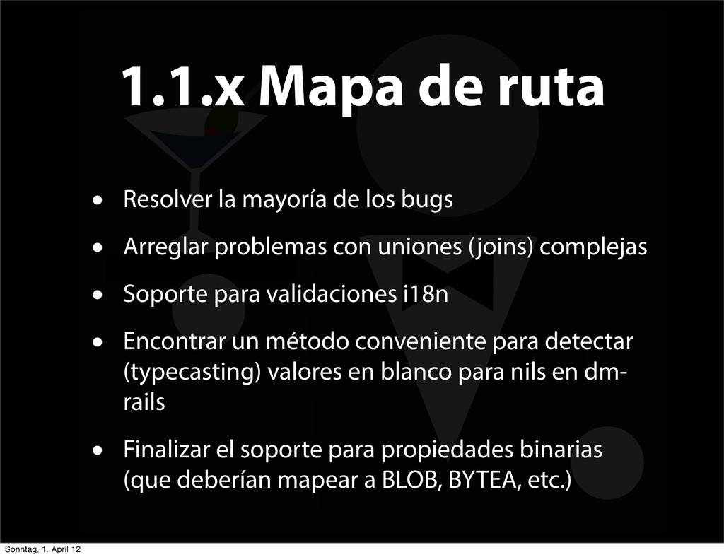 1.1.x Mapa de ruta • Resolver la mayoría de los...
