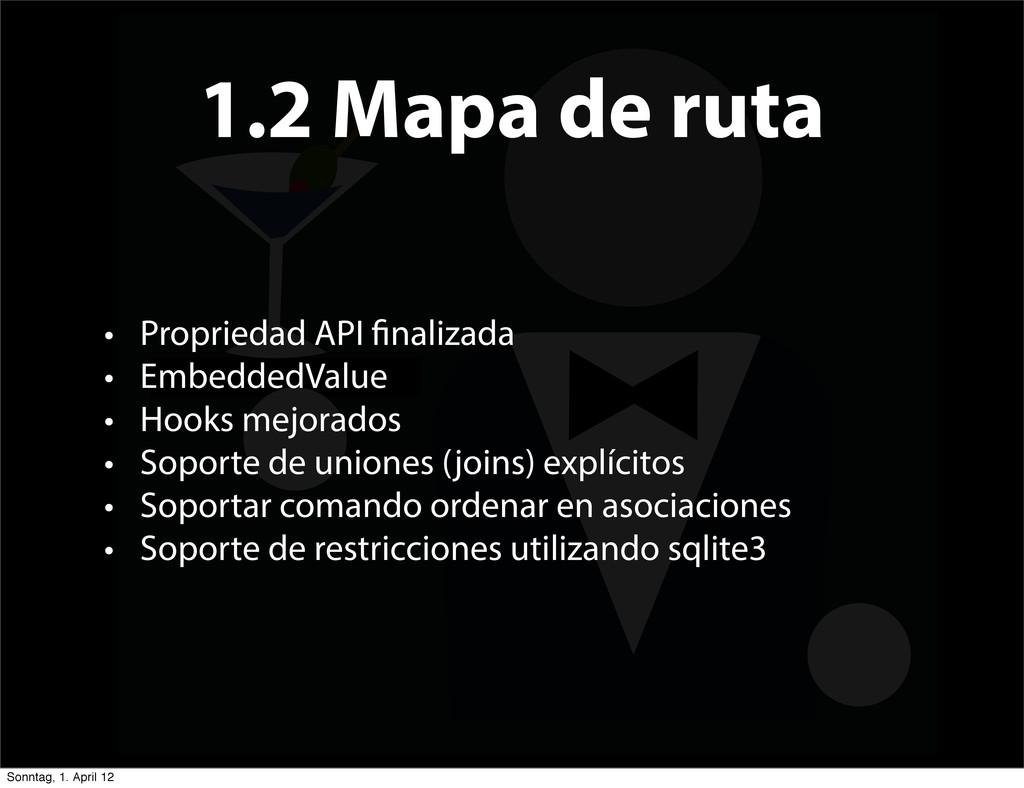 1.2 Mapa de ruta • Propriedad API nalizada • Em...
