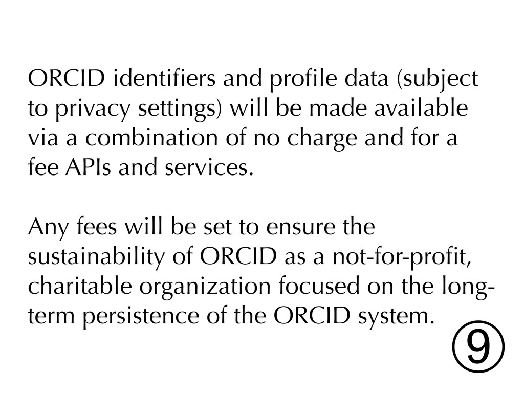 ORCID identifiers and profile data (subject to pr...