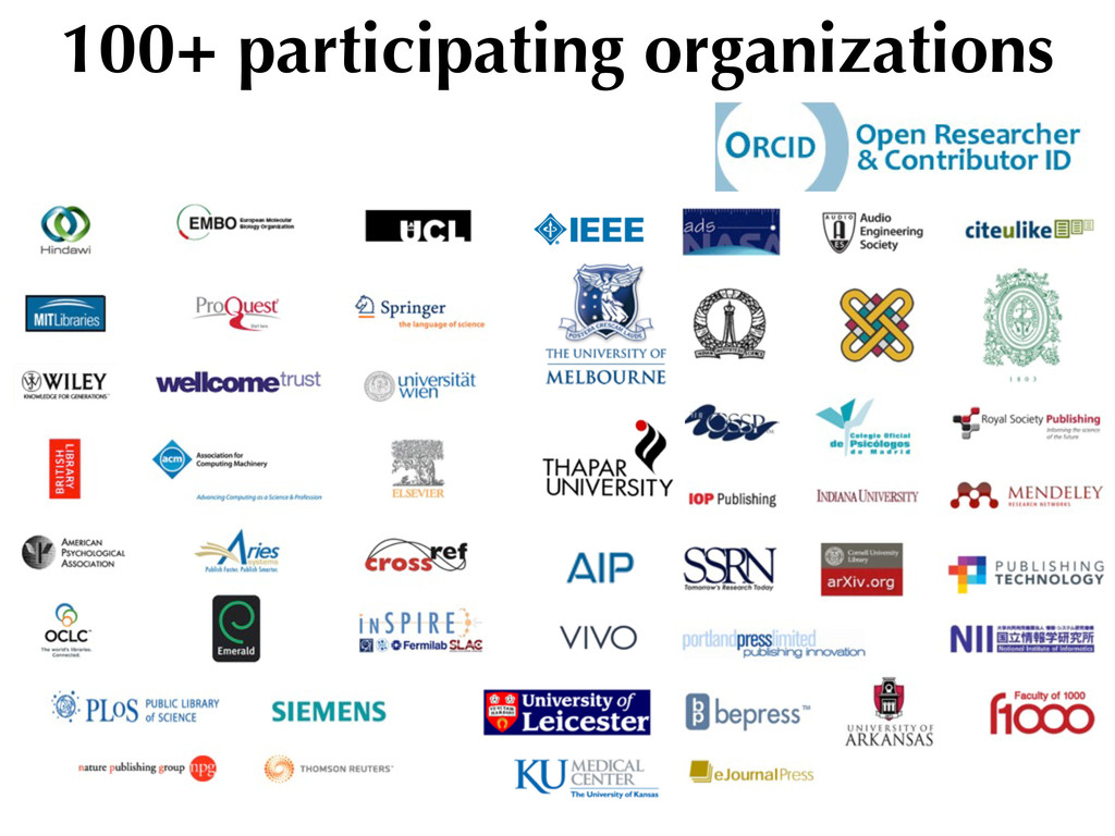 100+ participating organizations