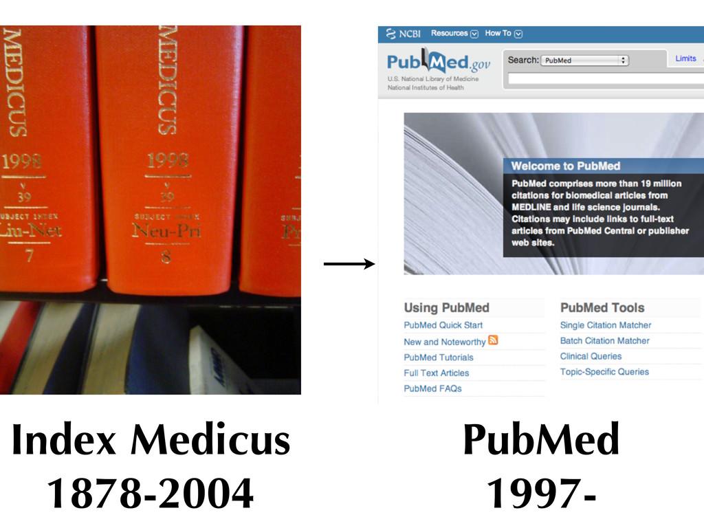 Index Medicus 1878-2004 PubMed 1997-