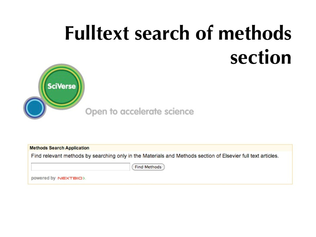 Fulltext search of methods section