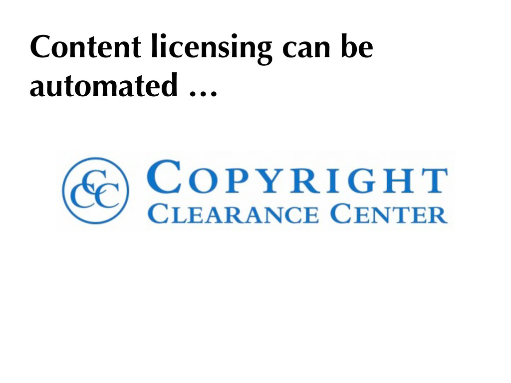 Content licensing can be automated …