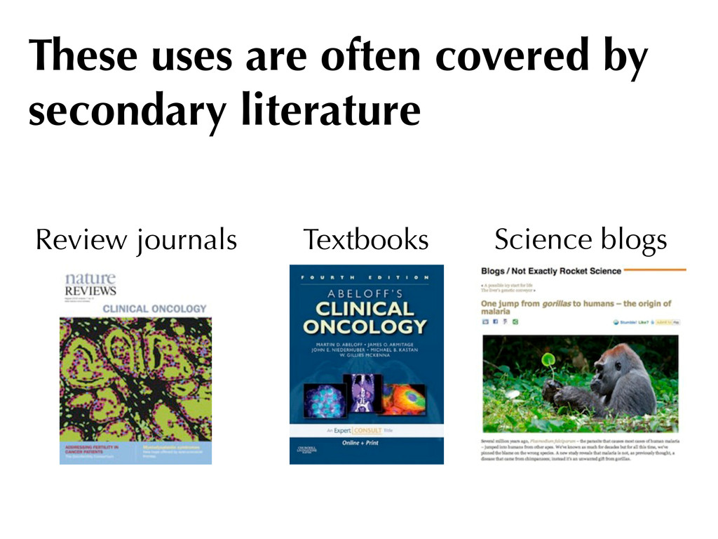 Science blogs Review journals Textbooks These u...