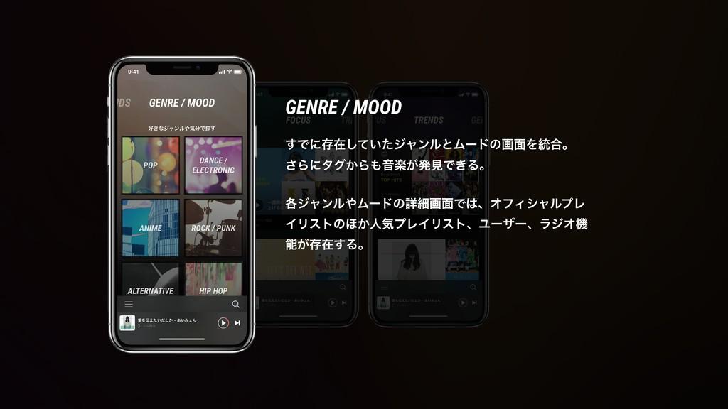 GENRE / MOOD ͢Ͱʹଘࡏ͍ͯͨ͠δϟϯϧͱϜʔυͷը໘Λ౷߹ɻ ͞Βʹλά͔ΒԻ...