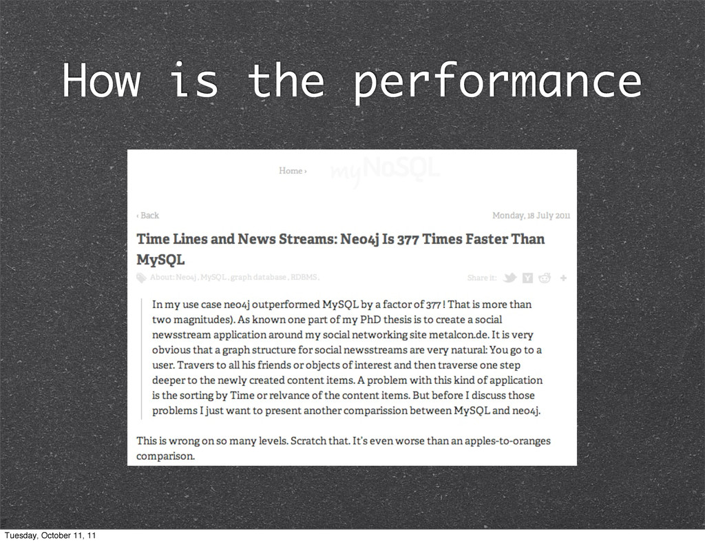 How is the performance Tuesday, October 11, 11