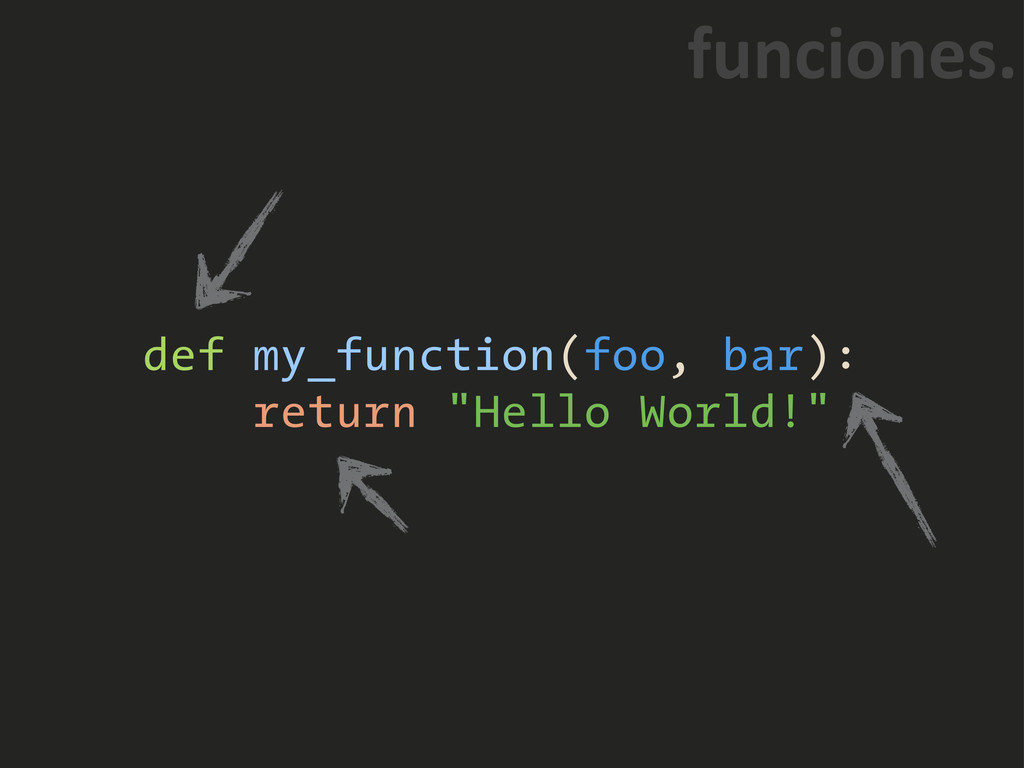 "def my_function(foo, bar): return ""Hello World!..."