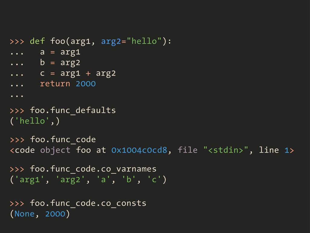 """>>> def foo(arg1, arg2=""""hello""""): ... a = arg1 ...."""