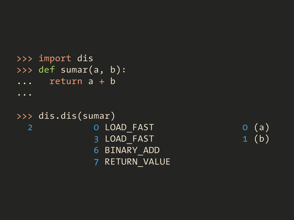 >>> import dis >>> def sumar(a, b): ... return ...
