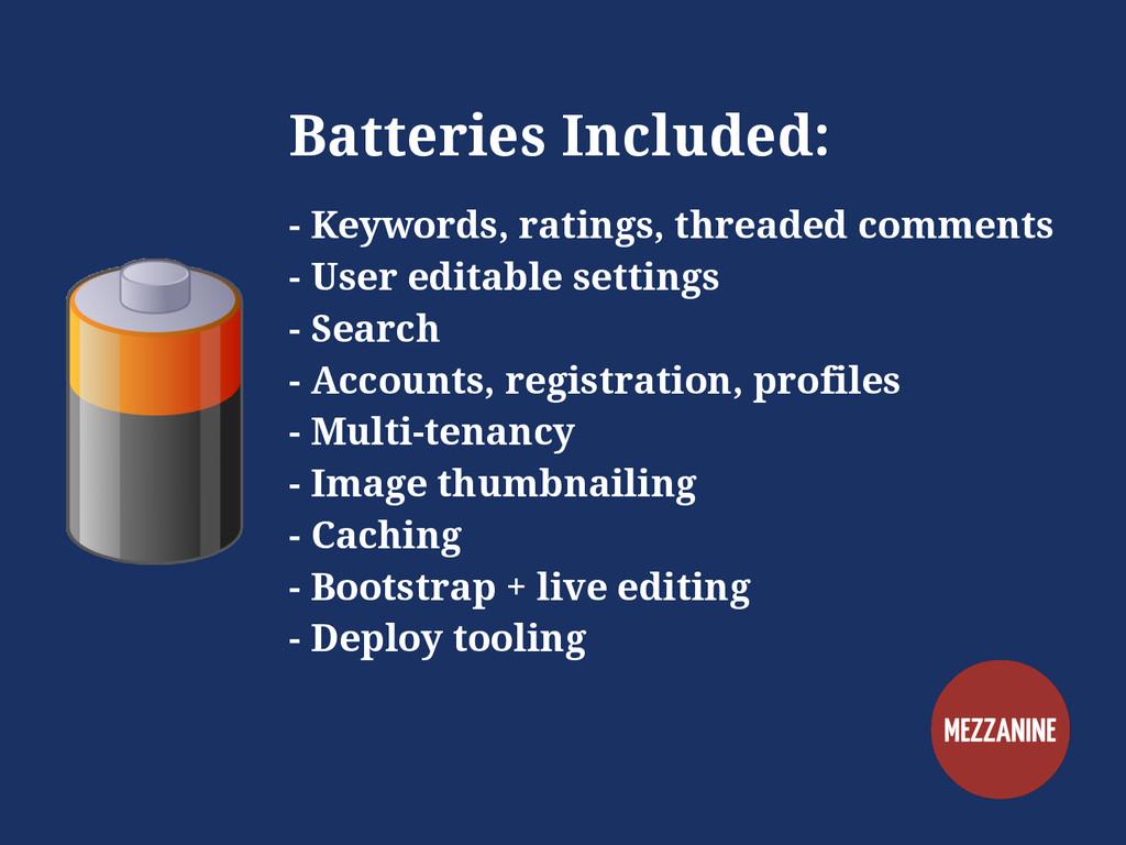 Batteries Included: - Keywords, ratings, thread...