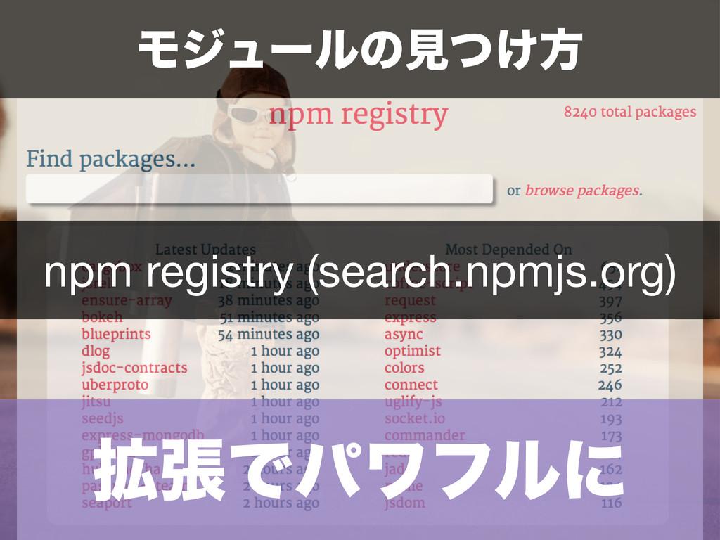 ֦ுͰύϫϑϧʹ Ϟδϡʔϧͷݟ͚ͭํ npm registry (search.npmjs....