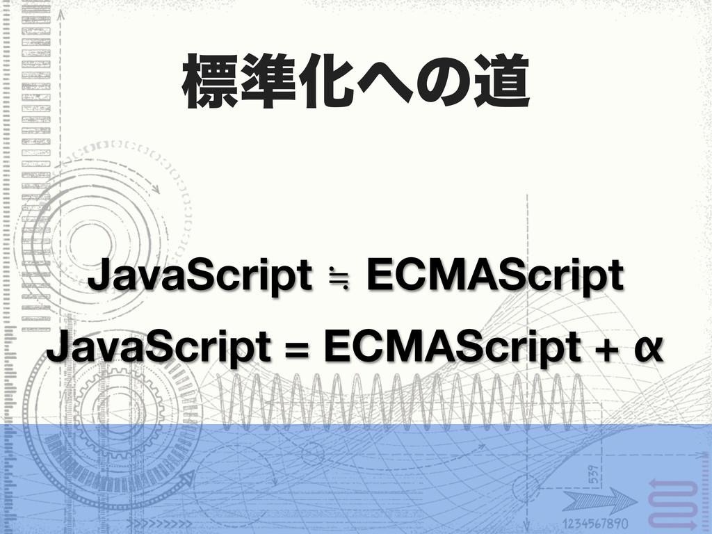 ඪ४Խͷಓ JavaScript = ECMAScript + α JavaScript ≒...