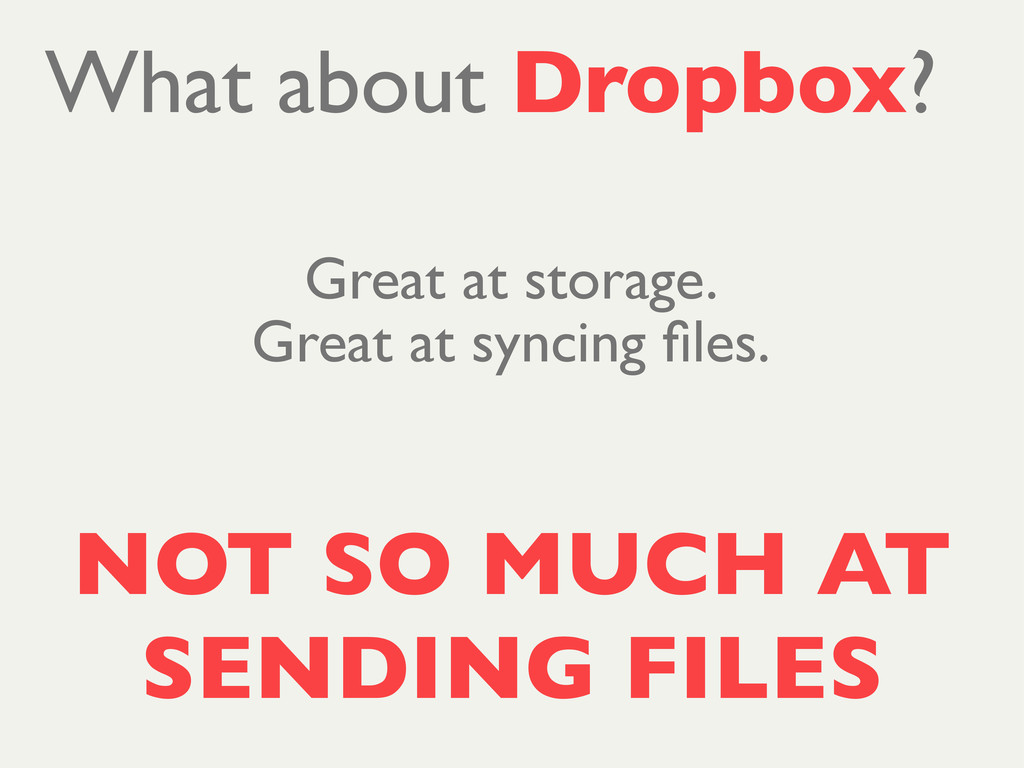 NOT SO MUCH AT SENDING FILES What about Dropbox...