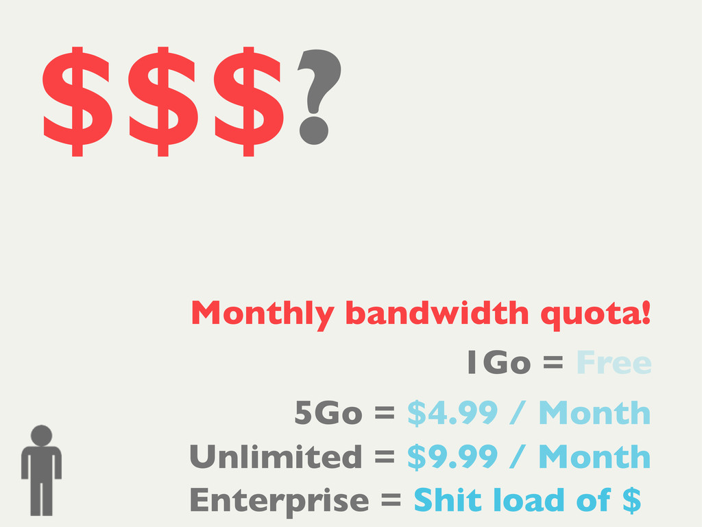 $$$? 1Go = Free 5Go = $4.99 / Month Unlimited =...