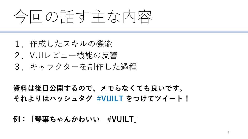 今回の話す主な内容 1.作成したスキルの機能 2.VUIレビュー機能の反響 3.キャラクターを...