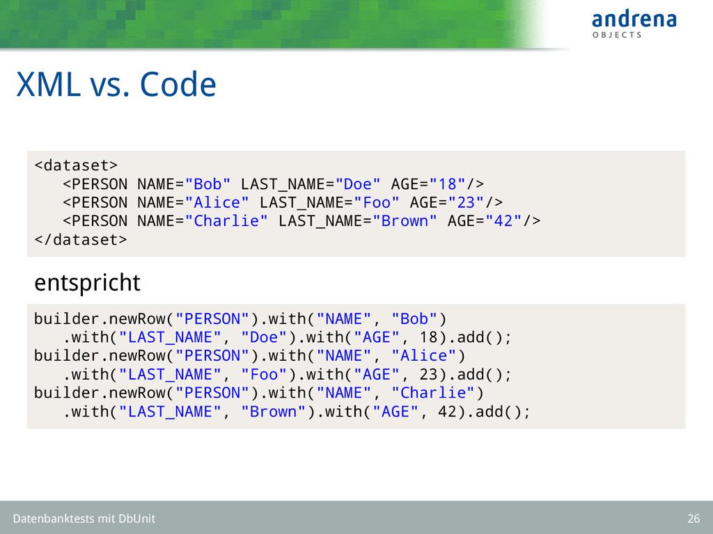 "XML vs. Code <dataset> <PERSON NAME=""Bob"" LAST_..."