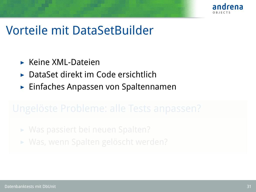 Vorteile mit DataSetBuilder Keine XML-Dateien D...