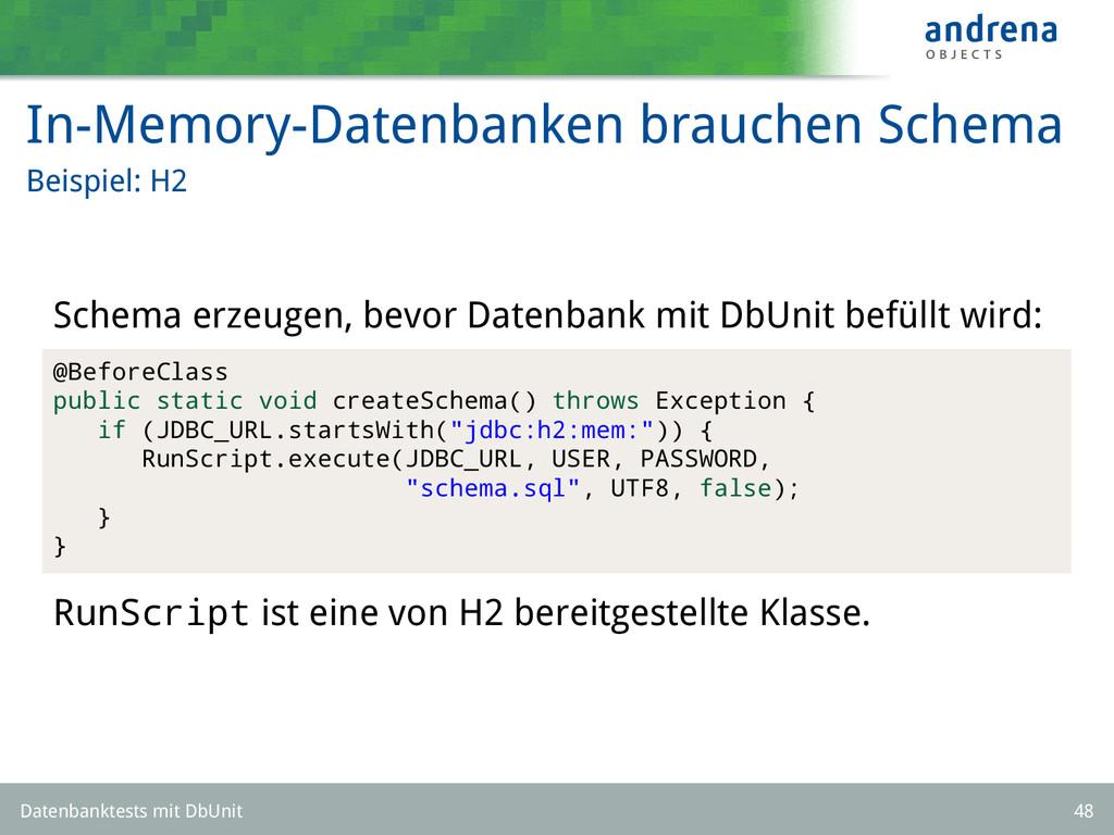 In-Memory-Datenbanken brauchen Schema Beispiel:...