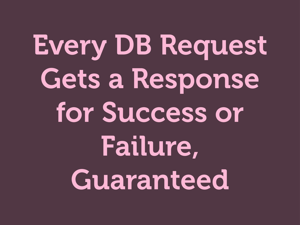 Every DB Request Gets a Response for Success or...