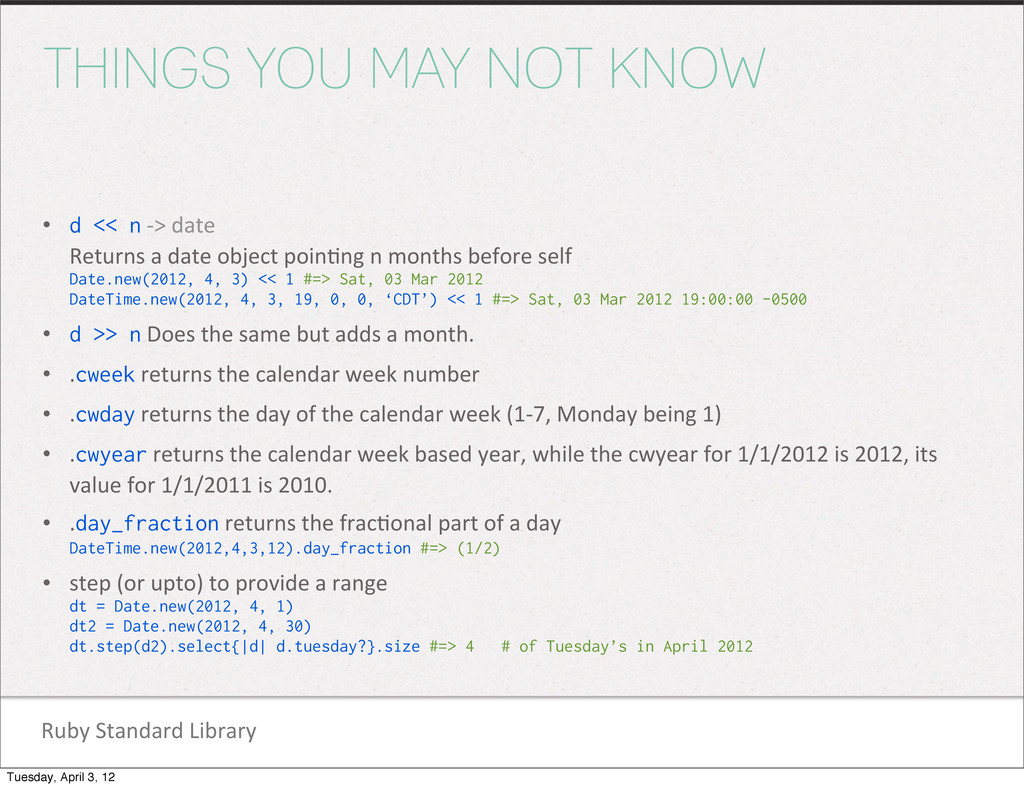Ruby Standard Library THINGS YOU MAY NOT ...