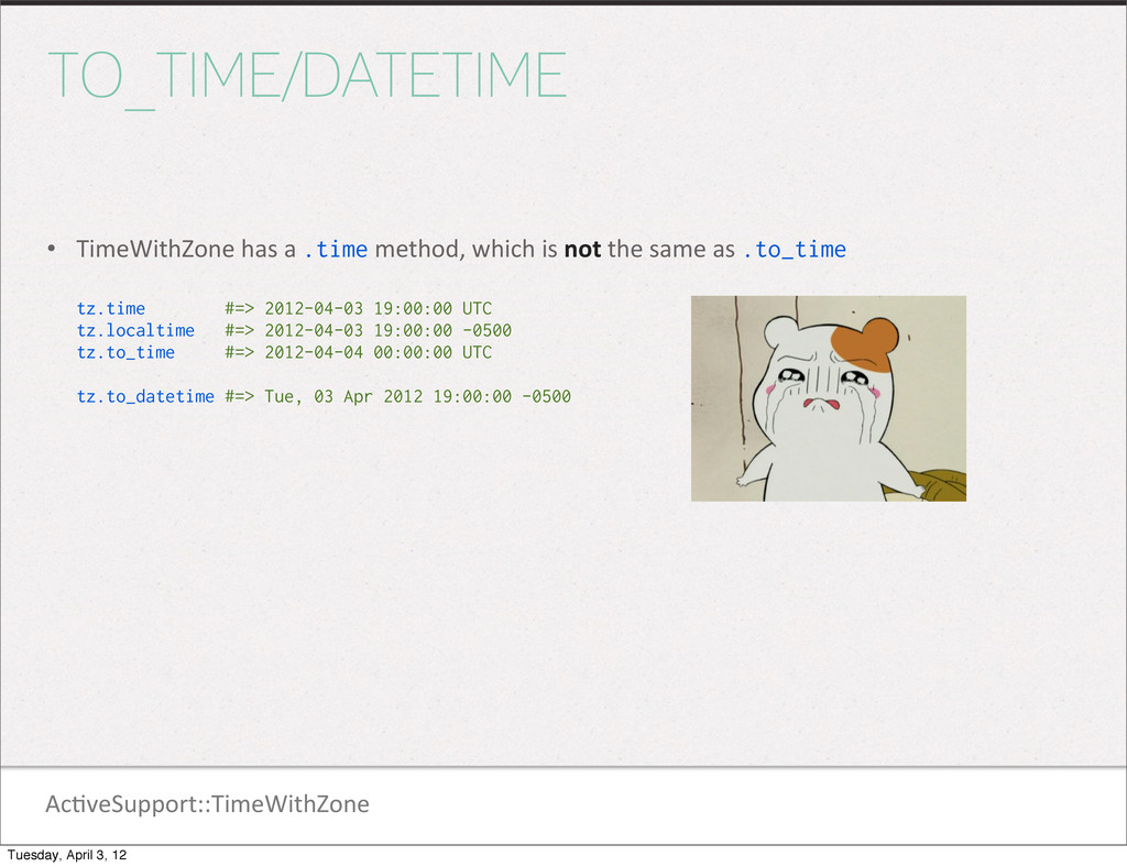 Ac1veSupport::TimeWithZone TO_TIME/DATETIME • T...