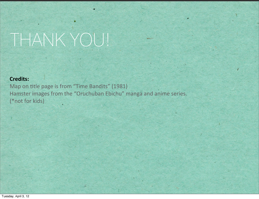 THANK YOU! Credits: Map on 1tle page...