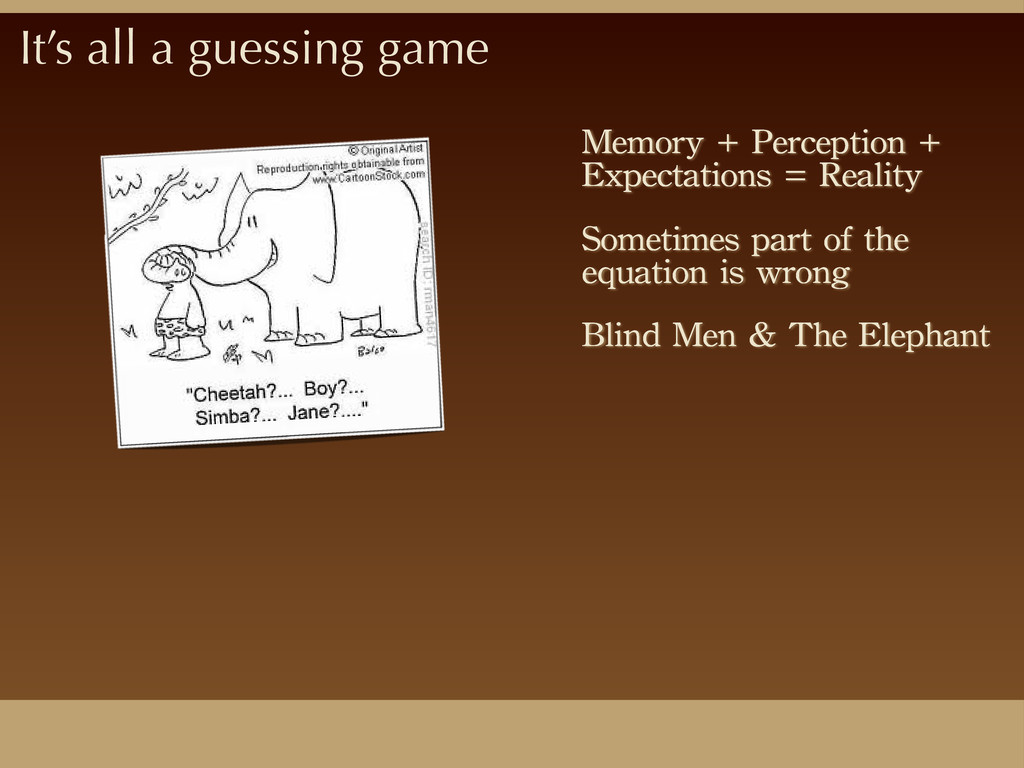 It's all a guessing game Memory	