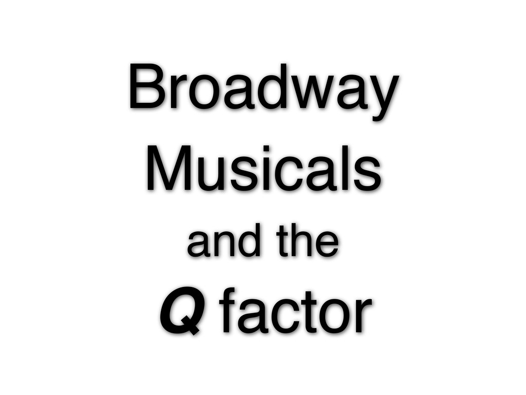 Broadway Musicals and the Q factor