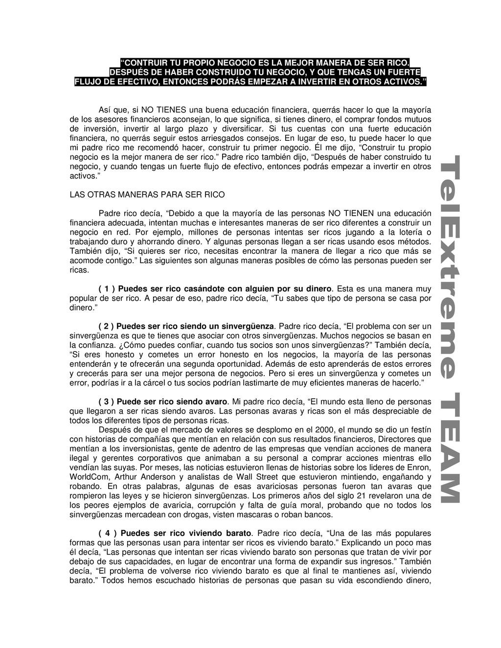 """""""CONTRUIR TU PROPIO NEGOCIO ES LA MEJOR MANERA ..."""