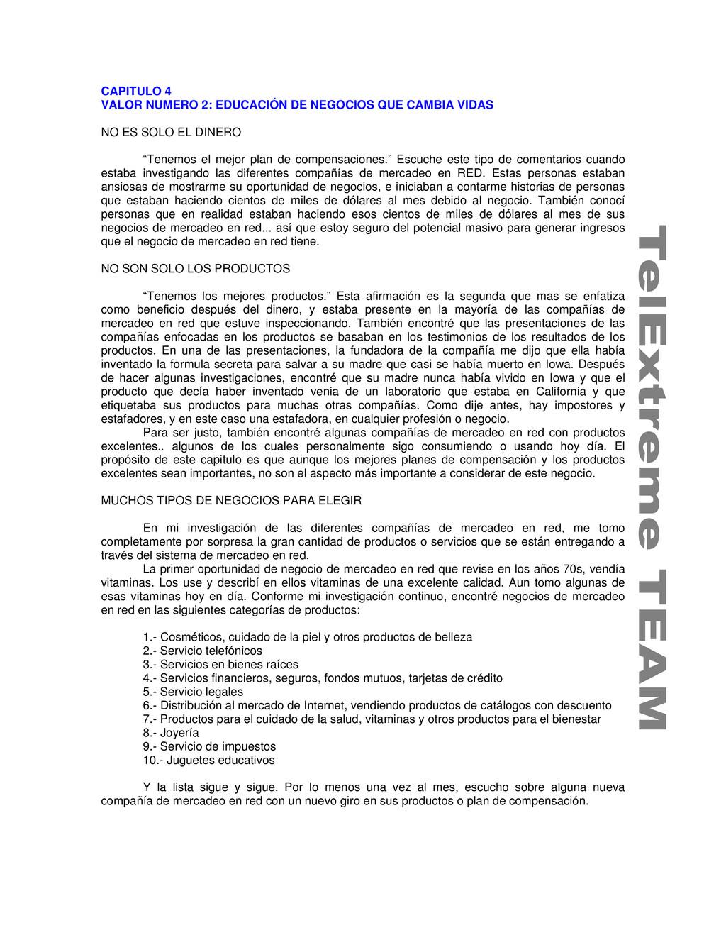 CAPITULO 4 VALOR NUMERO 2: EDUCACIÓN DE NEGOCIO...