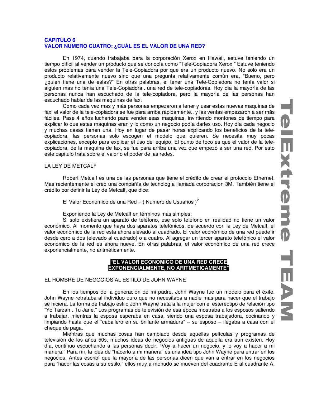 CAPITULO 6 VALOR NUMERO CUATRO: ¿CUÁL ES EL VAL...