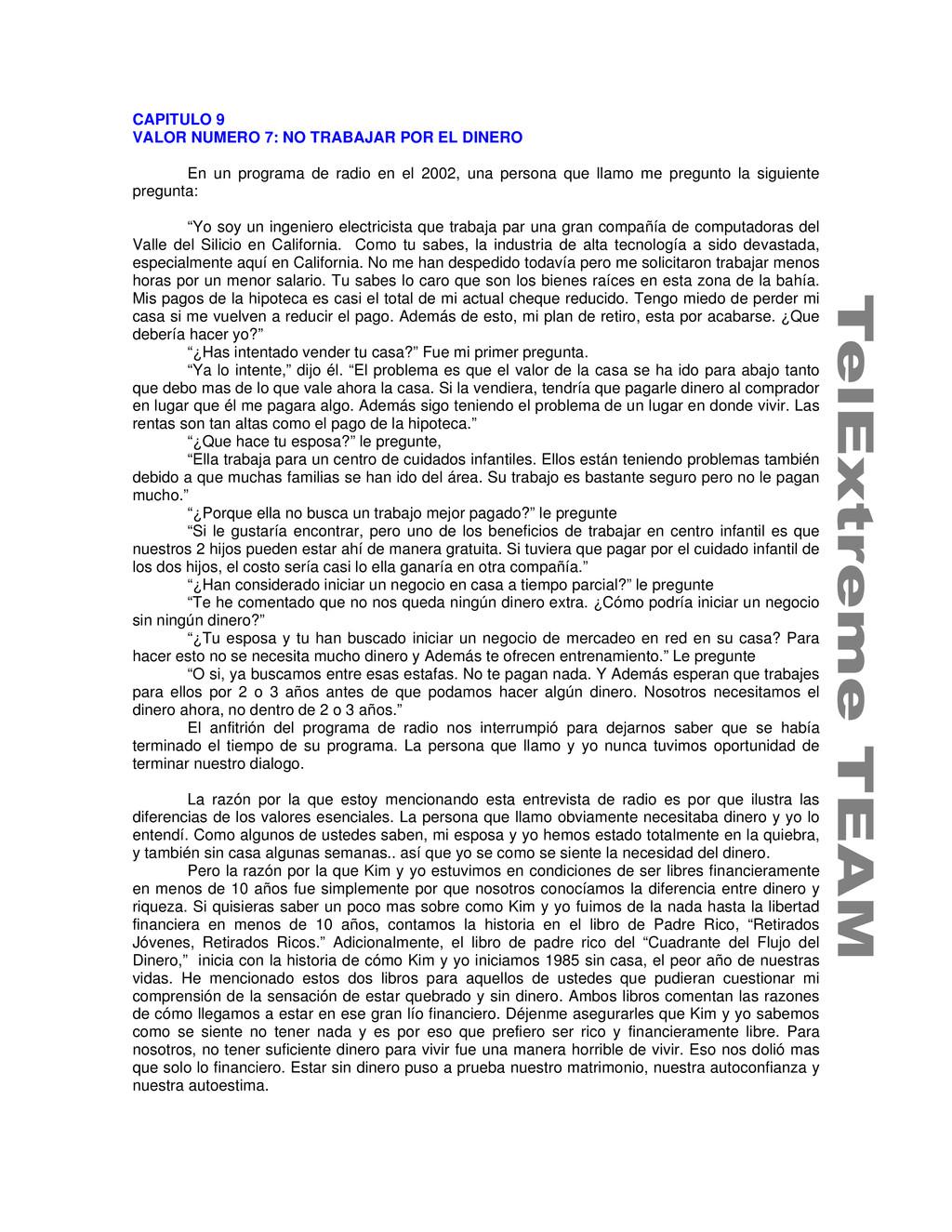 CAPITULO 9 VALOR NUMERO 7: NO TRABAJAR POR EL D...