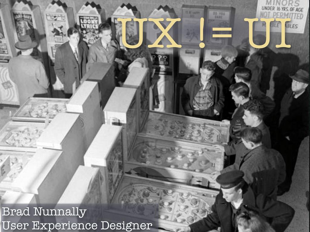 UX != UI Brad Nunnally User Experience Designer