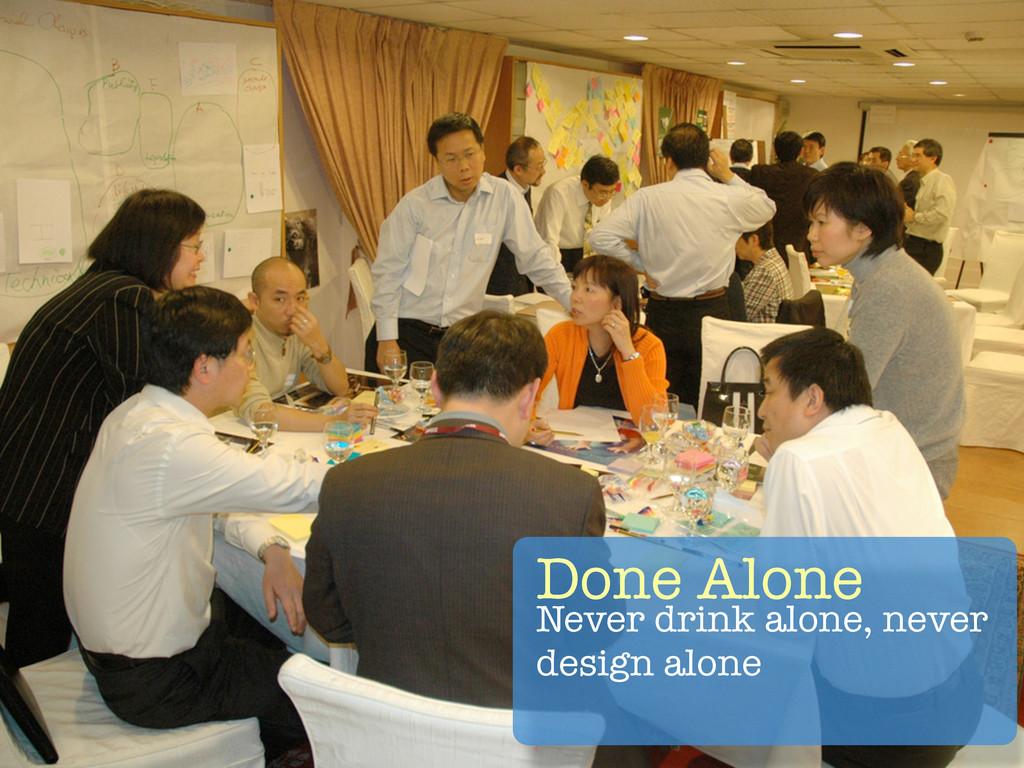 Done Alone Never drink alone, never design alone